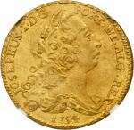 PORTUGAL. 4 Escudos (Peca), 1754. Jose I (1750-77). NGC Unc Details--Salt Water Damage.