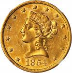 1854-S Liberty Head Eagle. AU-53 (NGC).