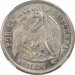 CHILE. Peso, 1886-So. NGC MS-63.