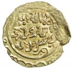 GREAT MONGOLS: Anonymous, ca. 1220s-1240s, AV dinar (3.34g), NM, ND, A-C1967, unusual calligraphy, d