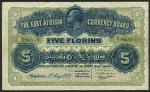 The East African Currency Board, 5 florins, 1 May 1920, serial number A/3 86533, blue and green, hea