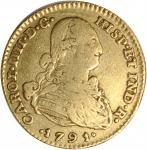 COLOMBIA. 2 Escudos, 1791-NR JJ. Nuevo Reino Mint. Charles IV. Very Fine.
