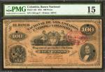 COLOMBIA. Banco Nacional. 100 Pesos. 1881. P-146a. PMG Choice Fine 15.
