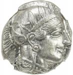 ATHENS 40ATTICA41: 440-404 BC, AR tetradrachm 4017。20g41, S-2526, helmeted bust of Athena right // o