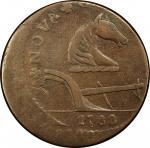 1788 New Jersey copper. Maris 77-dd (DS1). Rarity-3. Running Fox. Double struck, 2nd strike 20% off-