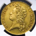 GREAT BRITAIN George II ジョージ2世(1727~60) 5Guineas 1729 NGC-AU58 EF+
