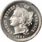 1881 Nickel Three-Cent Piece. Proof-67+ Cameo (PCGS).