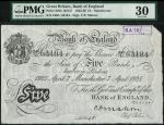 Bank of England, C.P. Mahon, £5, Manchester 7 April 1925, serial number 240U 63184, black and white,