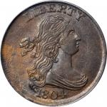 1804 Draped Bust Half Cent. C-10. Rarity-1. Crosslet 4, Stems to Wreath. MS-63 BN (PCGS). CAC.