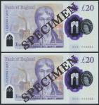 Bank of England, Sarah John, polymer £20, ND (20 February 2020), serial number AA01 000031/32, purpl