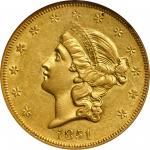 1851-O Liberty Head Double Eagle. Winter-1. AU-58 (NGC).