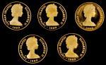 1980年开曼群岛精制套币金币。一组十枚。CAYMAN ISLANDS. Gold Proof Set (10 Pieces), 1980. GEM PROOF.
