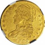 1809/8 Capped Bust Left Half Eagle. BD-1, the only known dies. Rarity-3+. EF-45 (NGC).
