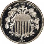 1867 Shield Nickel. No Rays. Proof-66 Ultra Cameo (NGC).