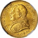 ITALY. Papal States. 20 Lire, 1866-R Year XXI. Rome Mint. Pius IX. NGC MS-64.