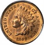 1869 Indian Cent. MS-65 RB (PCGS). CAC.