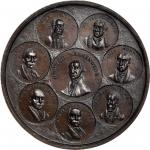 Undated (Circa 1856) Eight Presidents Medal. Copper. 46 mm. Musante-153R; Baker-221F. No makers Name