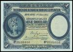 The HongKong and Shanghai Banking Corporation, $1, 1.6.1935, serial number H109816, blue and multico