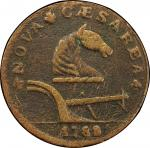 1788 New Jersey copper. Maris 77-dd (DS1). Rarity-3. Running Fox. VF Detail, Environmental Damage (P