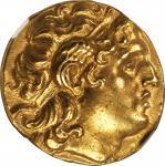 THRACE. Kingdom of Thrace. Lysimachos, 323-281 B.C. AV Stater (8.52 gms), Byzantium Mint. NGC Ch AU,