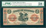 CANADA. Bank of Clifton. 2 Dollars, 1861. P-CAD1251212. PMG Choice About Uncirculated 58 EPQ.