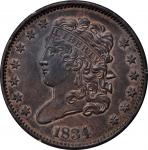 1834 Classic Head Half Cent. MS-64 BN (PCGS). CAC. OGH--First Generation.