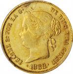 PHILIPPINES. 4 Pesos, 1868. Isabel II. PCGS Genuine--Planchet Flaw, AU Details Gold Shield.