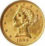 1899 Liberty Head Half Eagle. MS-62 (NGC). OH.