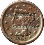 W.A. WELLMAN / 546 BROADWAY on an 1849 Braided Hair large cent. Brunk W-375, Rulau-Unlisted. Host co