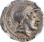 ROMAN REPUBLIC. P. Satrienus. AR Denarius (3.75 gms), Rome Mint, 77 B.C.NGC Ch AU, Strike: 5/5 Surf
