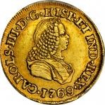 COLOMBIA. 1769-J 2 Escudos. Popayán mint. Carlos III (1759-1788). Restrepo 58.14. AU-53 (PCGS).