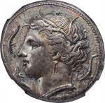 SICILY. Syracuse. Agathokles, 317-289 B.C. AR Tetradrachm (16.81 gms), ca. 317-310 B.C. NGC Ch EF, S