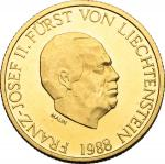 World Coins, Liechtenstein.  Franz Joseph II (1938-1989). 50 francs 1988. HMZ 21386c. Fr. 24.  9.99