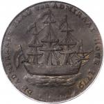 1778-1779 (ca. 1780) Rhode Island Ship Medal. Betts-562, W-1730. Without Wreath Below Ship. Brass. A