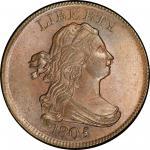1805 Draped Bust Half Cent. Cohen-1, Breen-1. Rarity-2. No Stems. Mint State-65 BN (PCGS).