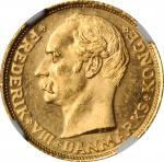 DENMARK. 10 Kroner, 1908-VBP GJ. Copenhagen Mint. NGC MS-64.