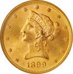 1899 Liberty Head Eagle. MS-64 (NGC). OH.