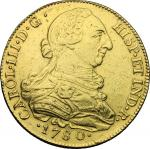 World Coins, Colombia.  Charles III (1759-1788). 8 escudos 1780, P SF, Popayan mint. Cal. 133. Fried