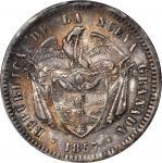 COLOMBIA. 1857 Peso. Bogotá mint. Restrepo 198.6. AU-55 (PCGS).