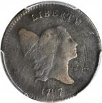 1797 Liberty Cap Half Cent. C-1. Rarity-2. 1 Above 1, Plain Edge. VG Details--Environmental Damage (