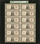 Uncut Sheet of (12). Fr. 2300. 1935-A $1 Hawaii Emergency Notes. PMG Choice About Uncirculated 58 EP