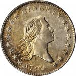 1794飘逸长发半美元 Flowing Hair Half Dollar PCGS AU 53