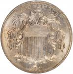 1867 Shield Nickel. No Rays. Repunched Date. MS-65 (NGC).