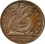 1787 Fugio copper. Newman 19-Z, W-6975. Rarity-5. STATES UNITED, Label with Raised Rims. AU-58 (PCGS
