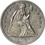 1871-CC Liberty Seated Silver Dollar. OC-1, the only known dies. Rarity-4+. AU-53 (PCGS).