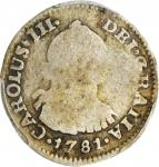 COLOMBIA. 1781-JJ 1/2 Real. Santa Fe de Nuevo Reino (Bogotá) mint. Carlos III (1759-1788). Restrepo
