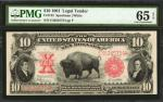 Fr. 122. 1901 $10 Legal Tender Note. PMG Gem Uncirculated 65 EPQ.
