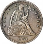 1864 Liberty Seated Silver Dollar. OC-1. Rarity-2. Repunched Date. EF Details--Cleaned (PCGS).