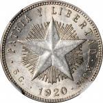 CUBA. 20 Centavos, 1920. NGC MS-63.