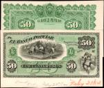 COLOMBIA. Banco Popular. 50 Pesos, 1882. P-S748P. Proofs.